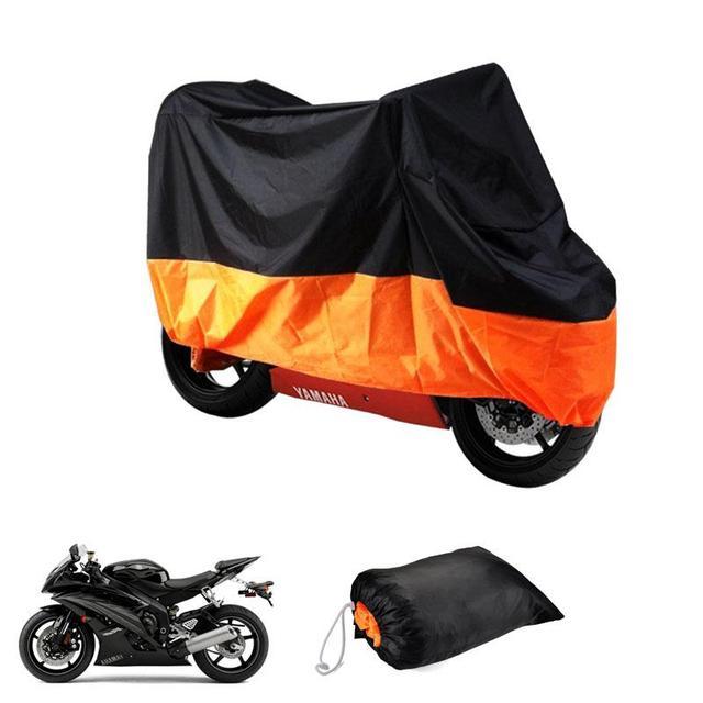 Preto orange motocicleta capa xxxl-295 * 110*140 centímetros à prova d' água à prova de poeira tampa uv pesada corrida de bicicleta resistente tampa de poliéster