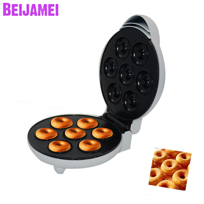 Two side Heating Automatic Donut Waffle Maker Small Egg Cake making Electric Baking Pan household breafast