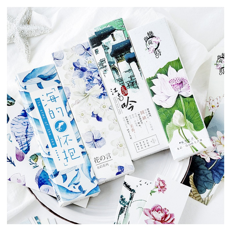 30 Pcs/Set Sea Lotus Flower Watercolor Series Paper Bookmark Book Holder Message Card Promotional Gift Stationery