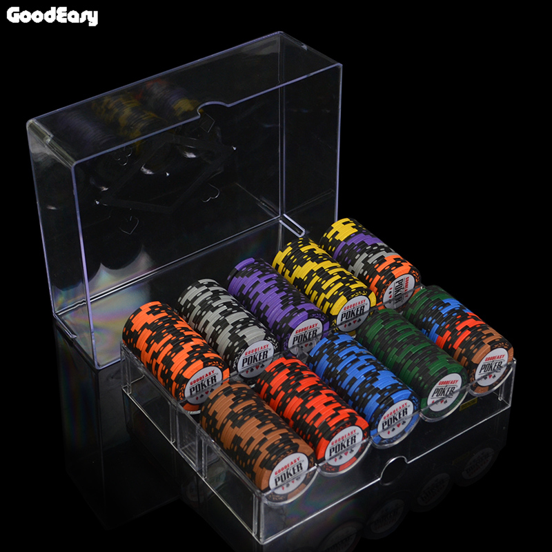 14g Clay Chips Sets With Acrylic Box Casino Crown POKER 14 Colors Texas Hold'em Poker Chips Cheap Factory Price dezhou 50pcs lot coins texas hold em clay poker chips 14g color crown