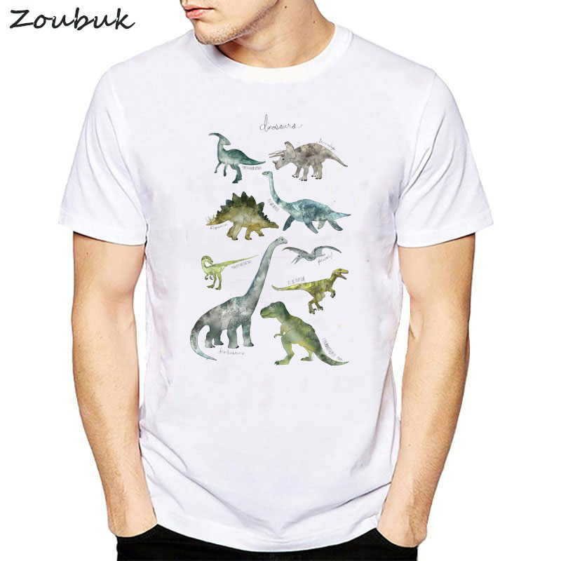 Jurassic Park   t     shirt   men dinosaurs printed tshirt white summer top cartoon   t  -  shirt   hipster cool tee   shirt   mens clothing