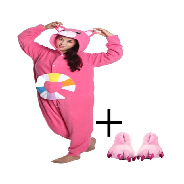 7a4732e628b US $29.99 |Nieuwe Ronde Hals Solid Casual Homewear Lounge Wear Onesie  Pyjama Novel Funny Animal Kleurrijke Beren Hansop Kostuum Voeten Slipper in  ...