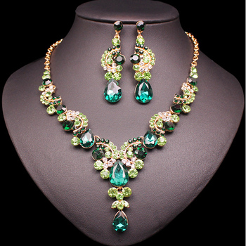 Fashion Crystal Jewelry Sets Jewelry Jewelry Sets Women Jewelry Metal Color: 2 pcs suit green