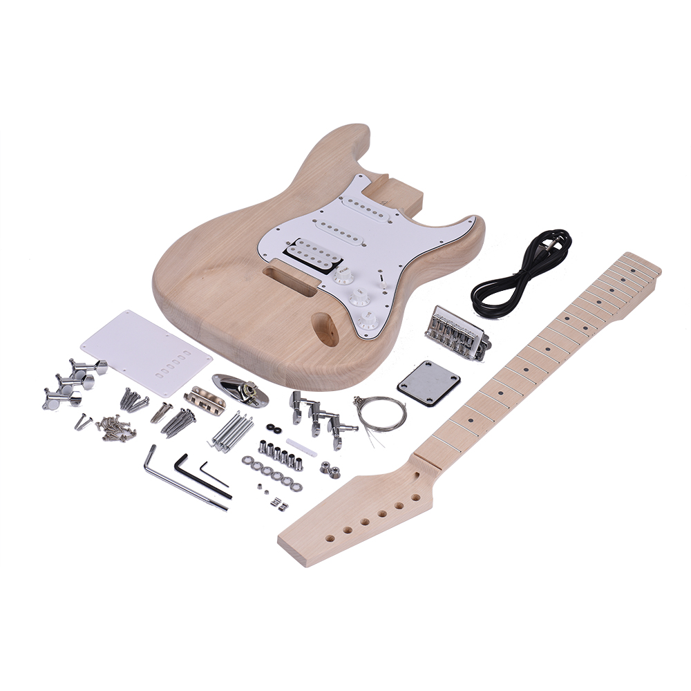 Muslady ST Style Electric Guitar Unfinished DIY Electric Guitar Kit Basswood Body Maple Neck Rosewood Fingerboard