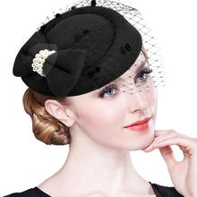 Elegant Fascinators Black Red Weddings Pillbox Hat For Women Straw Fedora Vintage Ladies Church Dress Sinamay women Hats