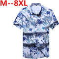 2017new  8XL 6XL 5XL  Short Sleeved Hawaiian Shirt Men Summer Fashion Floral Shirts Men Flowers Printed Shirts Casual Men Shirt