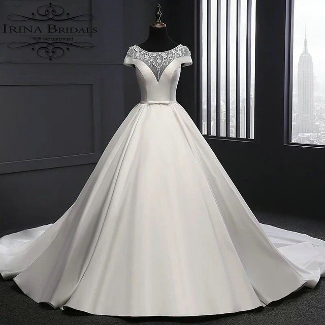 c29c0509f5 vestido de festa longo Cap Sleeve Beading Flowers Pleat Satin Ball Gown  Wedding Dress