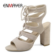 ENMAYER  Casual Lace-Up Basic Sandalias Mujer 2019 Zapatos De High Heels Womans Shoes Size 34-40 ZYL2589
