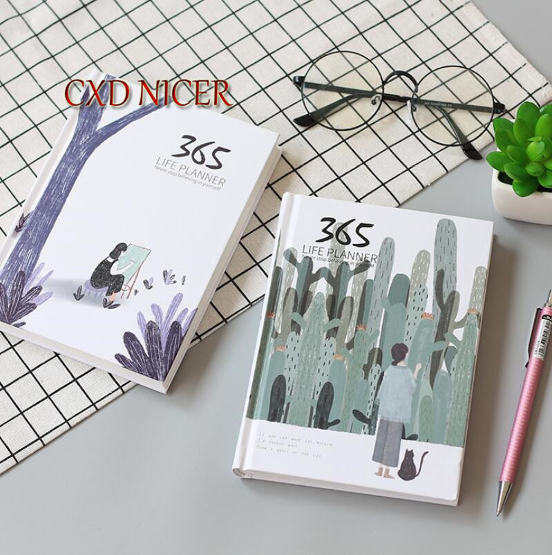 Cactus And Girl Fresh Booklet Kawaii Notebook Diary Schedule 365days Hardcover Planner A6 Agenda School Supplies DD1953 365 day thick hardcover personal diary