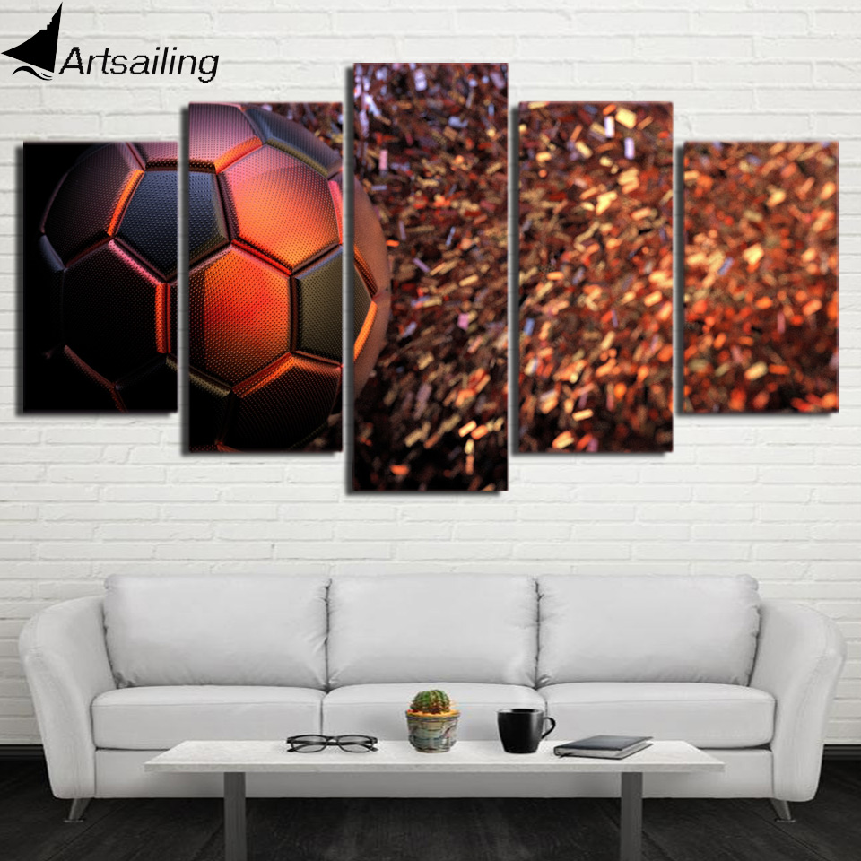 HD Printed 5 Piece Canvas Painting Art Soccer Modular Picture Wall Pictures for Living Room Gym Poster Free Shipping CU-2682A