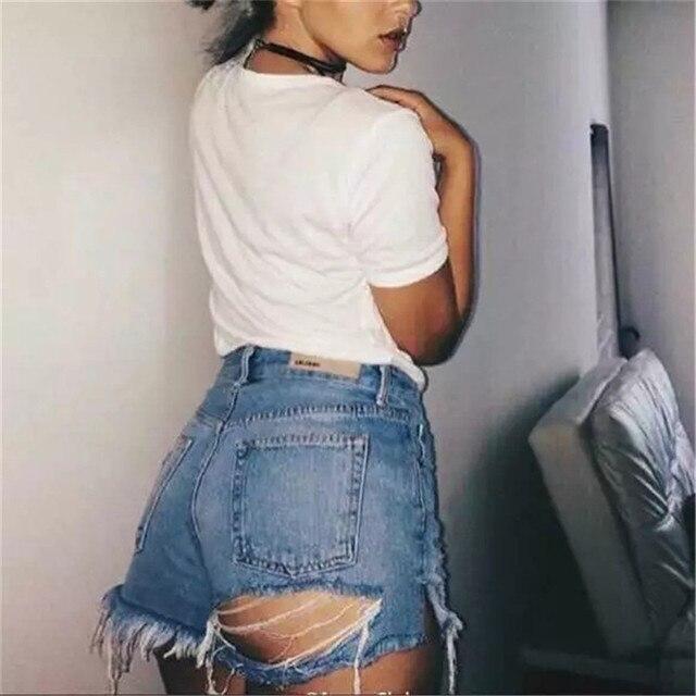 Vintage Female New 2018  Washed  Denim Shorts Women  Ripped Denim Shorts Sexy Pocket Basic Jeans Boyfriend Hip Hole Shorts