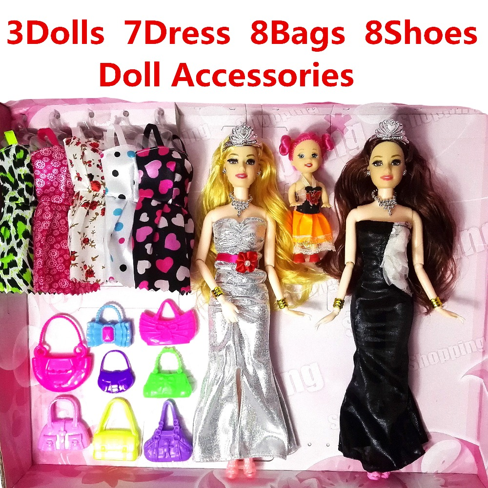 3 PC Fashion doll Barbie Doll Set Big Gift 36 Accessories Figure Models Cute DIY Toy For Girls Dolls Children Princess Set Dress super cute plush toy dog doll as a christmas gift for children s home decoration 20