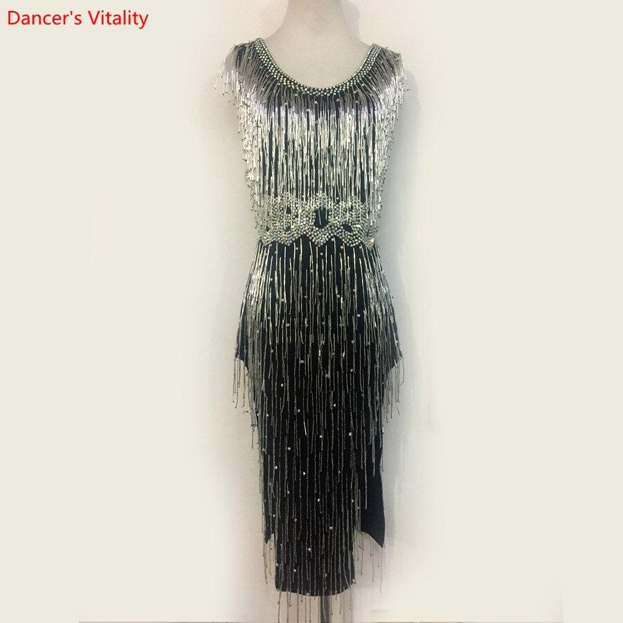 Luxury Women Latin Dance Clothes Sexy V-Back Tassel Dress Lady's Girls Ballroom Dance Walzte Tango Dance Performance Costumes