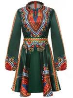 Women Summer Dress Casual Ladies Sexy African Dresses Dashiki Traditional Print Long Sleeve Mini Dress Plus Size L-3XL