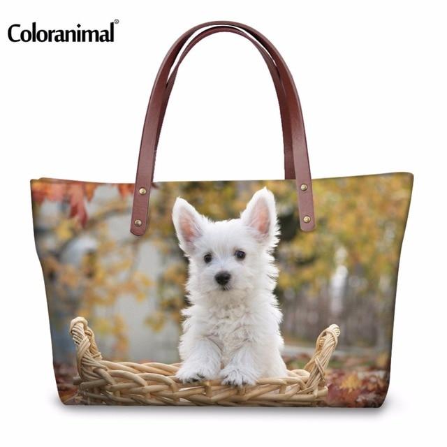dfa4542f4eaf US $23.99 20% OFF|Coloranimal Neoprene Women Casual Large Shopping Cute  Westie Floral Pattern Woman Handbags Bags Ladies Eco friendly Shoulder  Bag-in ...