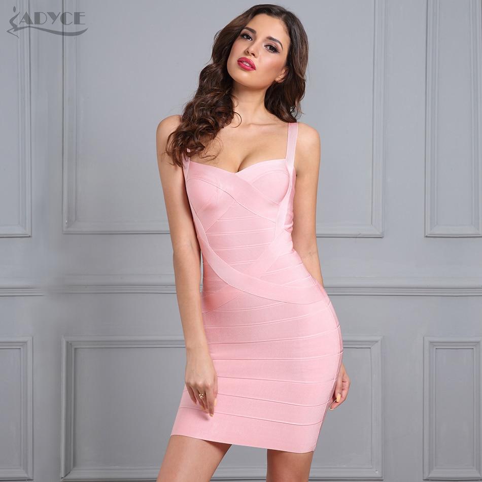 ADYCE Naised Bodycon sidemekleit Vestidos Verano 2018 Uus värv Kollane Must Roosa Valge Seksikas daam Tantsu raja klubi kleit