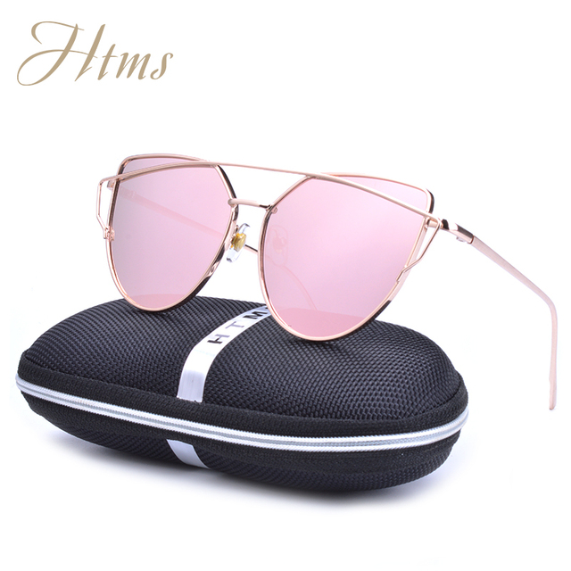 6ea590ed5dc77d 2017 neue Sonnenbrille Frauen Katzenauge Luftfahrt Twin-Beams Mode Vintage  Rose Gold Spiegel Sonnenbrille Damen