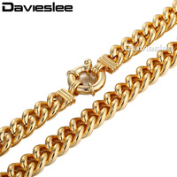 CUSTOMIZE SIZE 10mm 18K Rose Gold Filled Huge Curb Chain Sailor Buckle Link Mens Boys Necklace