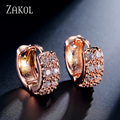 ZAKOL Fashion Rose Gold Plated Hoop Earrings For Women High Quality Brincos Jewelry White Crystal Zirconia Jewelry 2017 FSEP066