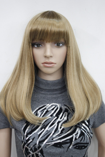 New Heat Ok Cleopatra Wig Light Strawberry Blonde Medium Straight Hair Full  Wig Cosplay Theatre