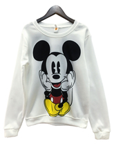 2017 Pullover Hoodies Mickey Character Printed O-neck Costumes Printed Red White Cuted Style  Sweatshirt for Women's Tracksuit