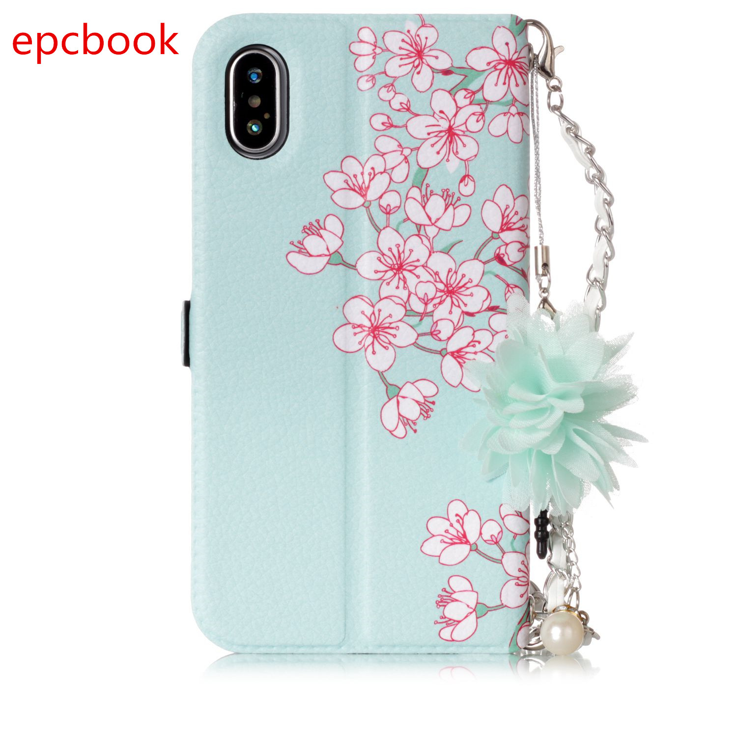 epcbook Luxury Flip Wallet Case For Apple iPhone 8 8plus X Cover Case For iPhoen 7 7plus flower PU Leather With Card Pocket Case