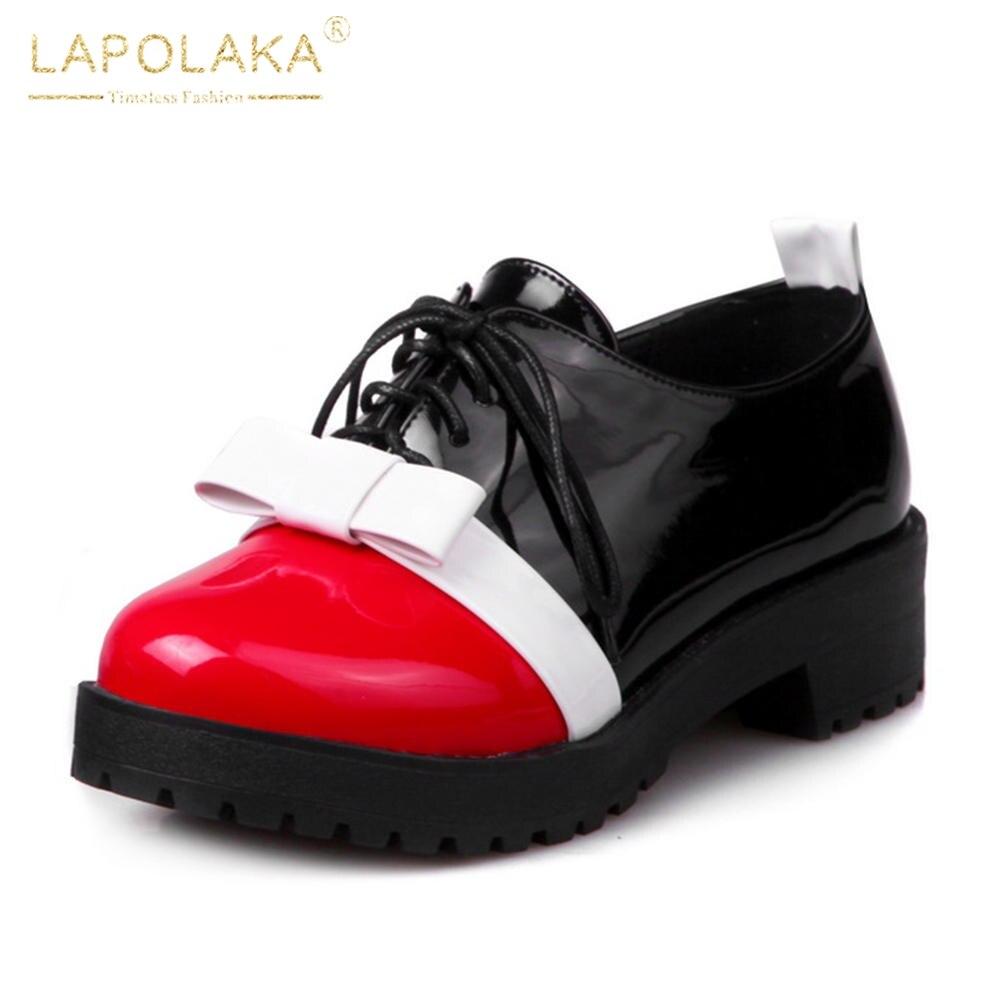 Printemps Arc Mélangées 2018 Tailles Lapolaka rouge Chaussures 43 De Casual Femmes Noir 33 Couleurs Grandes Appartements Up Doux Dentelle Femme Dropship Noir 6An6WF