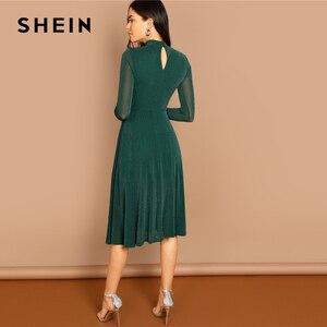 Image 3 - SHEIN Yeşil Parti Katı Mock Boyun Glitter Fit Ve Flare Standı Yaka uzun kollu elbise Sonbahar Kadın Zarif Elbiseler