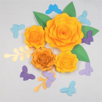 2018 Set Of 4 Large Paper Flowers Decorative Flower 6 Leaves 8 Butterflies Wedding Backdrops Baby Nursery Shower Decorations Mix