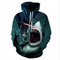 Liumaohua New Brand clothing Funny pattern Hoodies Batman and Shark Print Men Women 3d Sweatshirt Unisex Hooded Sweatshirt tops