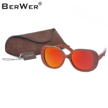 BerWer Retro red Wooden Sunglasses With red Polarized Lens And Fashion Design Wooden Frame Dropshipping with cork case