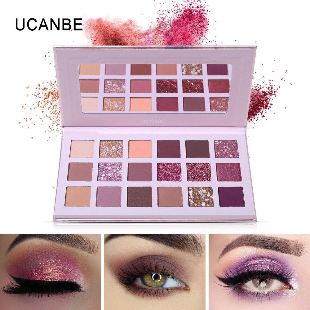 UCANBE New Aromas 18 Color Eyeshadow makeup Palette Desert Rose Eyeshadow Eyeshadow Palette Glitter Eyeshadow in Eye Shadow from Beauty Health