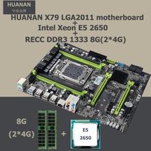 HUANAN v2.49 Intel X79 LGA2011 placa base con CPU Xeon E5 2650 CPU motherboard revisión juego de 2.47 (2*4G) 8G DDR3 memoria RECC
