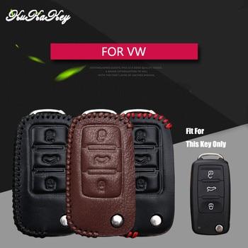 2017 de moda coche inteligente de cuero 3 clave cubierta de la caja para Volkswagen VW Golf 4 7 6 Passat B5 B8 B7 bolsa de llave de cuero genuino Polo Tiguan