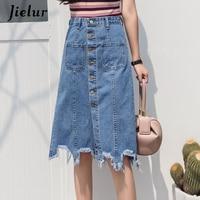 Jielur Summer Skirts Womens Korean Elegant Single Breasted Skirt Female Simple A line Blue Color Denim Skirt 2019 S L Midi Saia