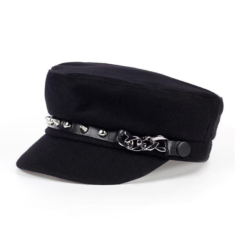 Retro Elegant Winter Hats Fashion Cotton thicker Beret Outdoor travel Cap Woman Girl Flat Cabbie Newsboy cap Warm Hat Black