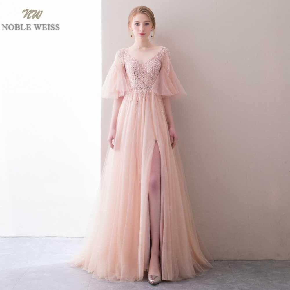 NOBLE WEISS Robe De Soiree Floor Length V Neck Pink A Line Evening Dresses Net Beading
