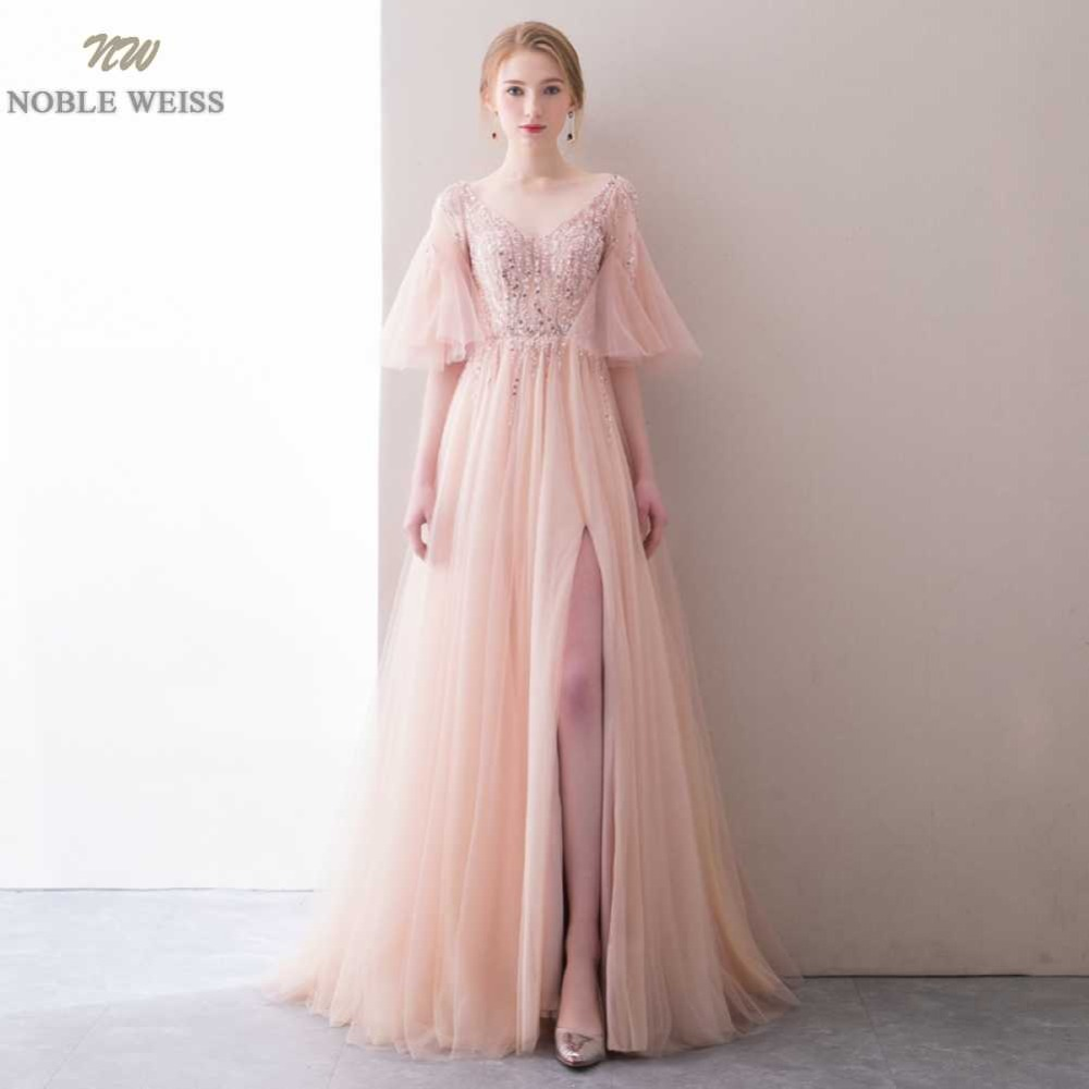 NOBLE WEISS Robe De Soiree Floor-Length V-Neck Pink A-Line   Evening     Dresses   Net Beading Custom Made Zipper Back Prom Party Gown