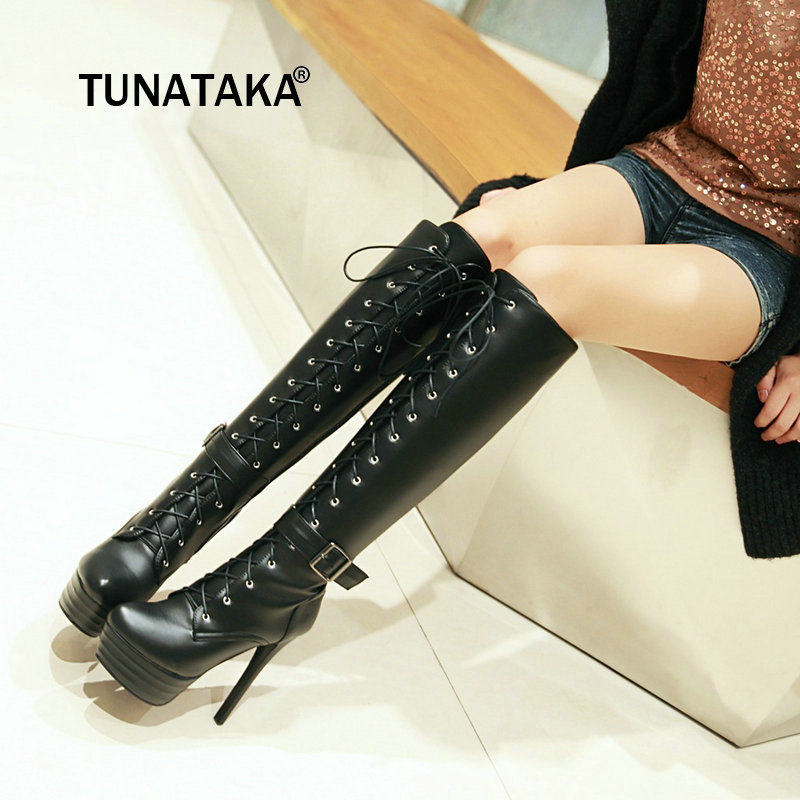 Women Winter Platform Thin High Heel Knee High Boots Fashion Buckle Lace Up Sexy Shoes Women Brown White Black Beige