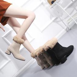 Женские ботильоны, зимние ботинки на платформе, повседневная обувь на квадратном каблуке, Женская однотонная модная обувь на молнии с