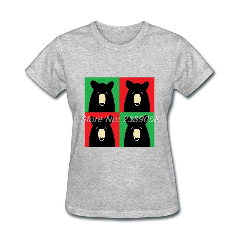 Black t shirt xl - Women T Shirts Black Bear Custom Made Unique Cartoon T Shirt Short Sleeve Women Tee Shirt Xl