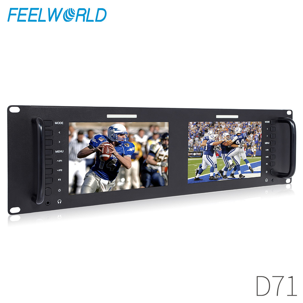 """Lilliput RM-7024 Dual 7 3RU Rack Monitors 800X480 with Dual 7/"""" Screens and Dual Dual VGA VIVITEQ Video /& DVI in//outputs Official Seller"""