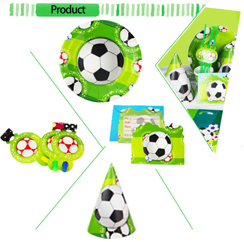 6 People kids birthday party The World Cup party decoration sets Disposable Party Tableware paper plates cups