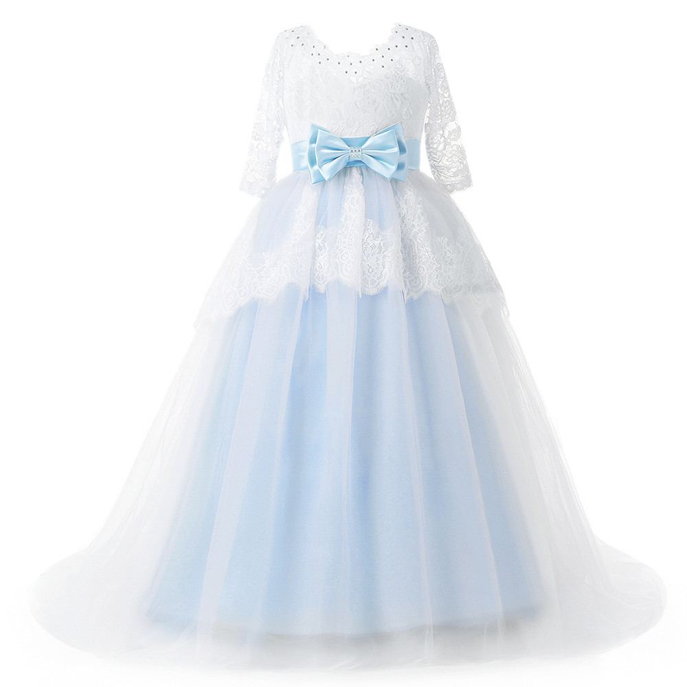 2017 Beautiful Blue and White Flower Girls Dresses Beaded Lace Appliqued Bows Pageant Gowns for Kids Wedding Party two pieces white ivory sheer long sleeves lace flower girl dresses beautiful wedding party mermaid gowns for kids custom made