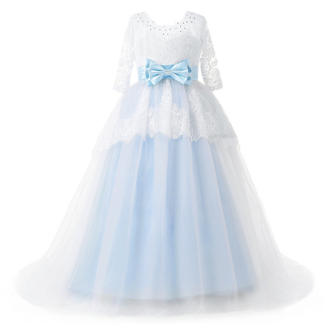 2017 Beautiful Blue and White Flower Girls Dresses Beaded Lace ...