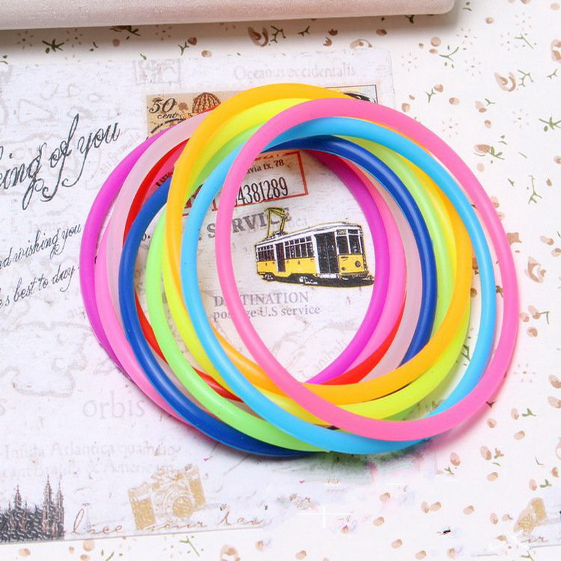 10 Pcs Fashion Candy Color Elastic Silicone Rubber Bands