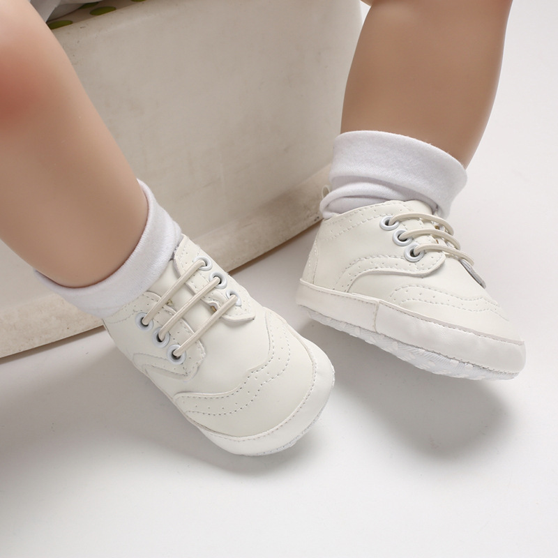 Newborn Baby Girls Boys Sport Leather Shoes Antislip Soft Bottom Kids Baby Sneaker Casual Flat Sneakers White Shoes