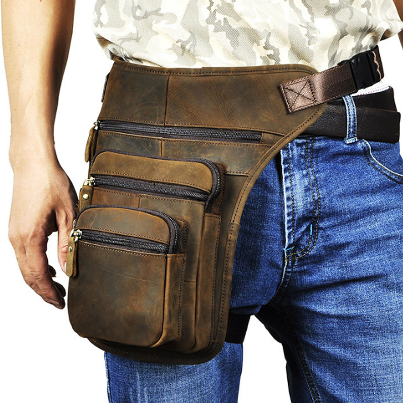 Men Real Cow Leather Thigh Drop Leg Bag Men Classic Vintage Military Motorcycle Hip Belt Fanny