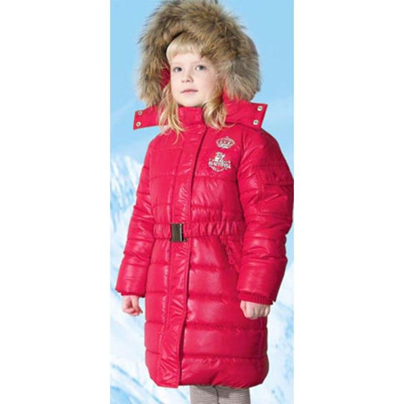Filles D'hiver Duvet de Canard Vestes Chaud Survêtement Col De Fourrure Vestes pour Fille Enfants En Bas Manteau Long et Épais Manteau 1105