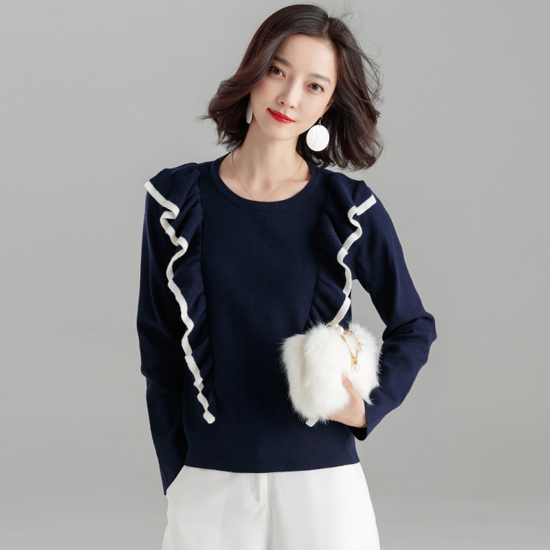 Knitted Pullovers Women Top 2018 New Autumn O Neck Long Sleeve Ruched Pullover Pull Femme Jumper Knitwear Woman Sweaters